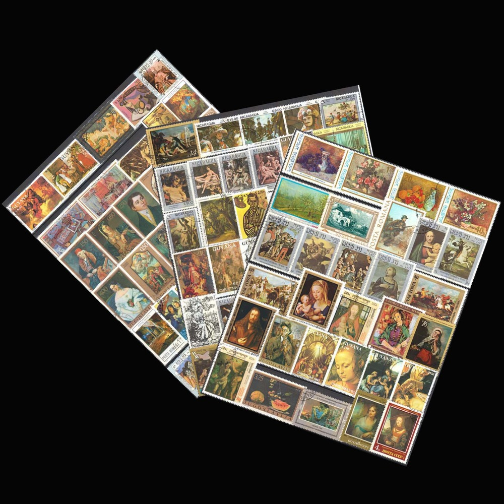 Famous Printings , 50 Pieces / Lot No repeat  Random Big Used Postage Stamps With Post Mark From World  For Collecting 4pcs chinese acient tower postage stamps unused new no repeat non postmark published in china best stamps collecting