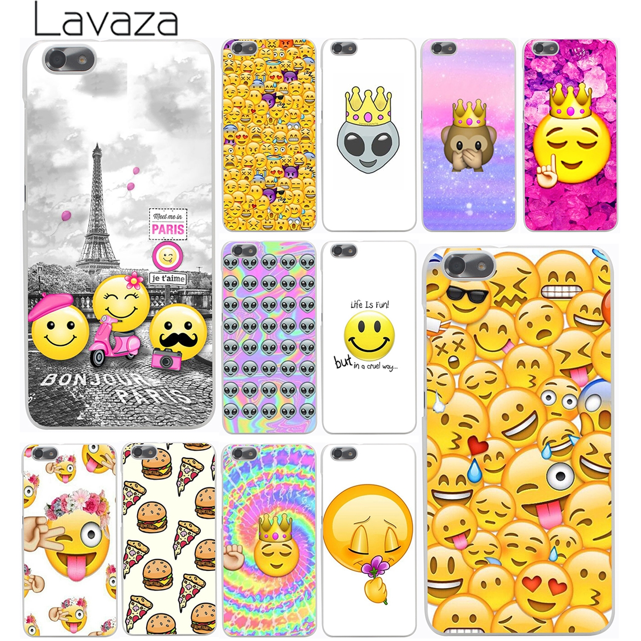 smile Coque Funny Emoji pizz the Eiffel Tower phone Hard Case for Huawei P9 P8 Lite P9 Plus P7 6 G7 & Honor 4C 4X 7 6