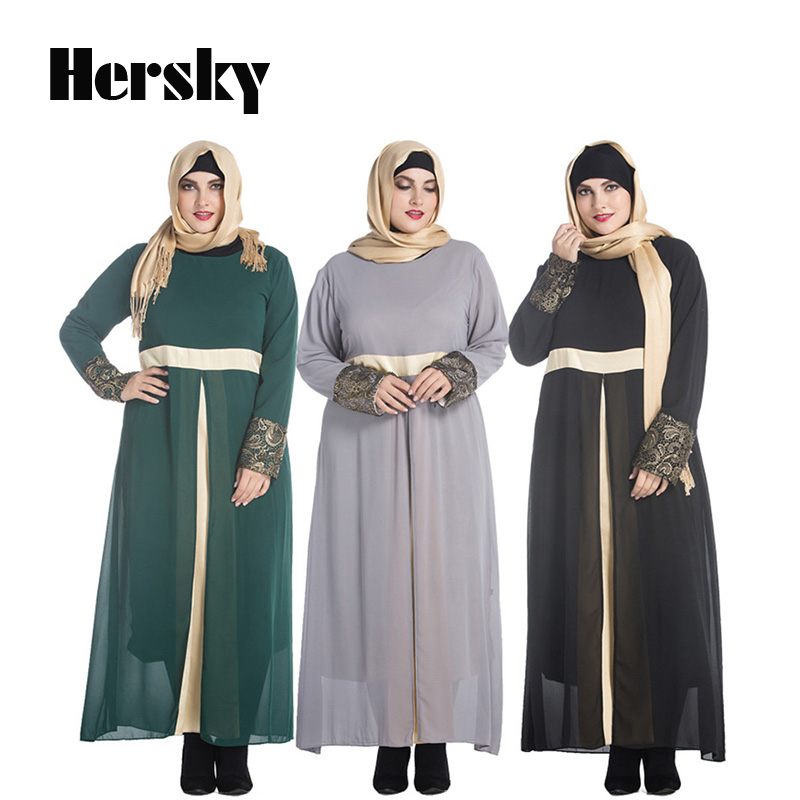 Muslim Abaya clothes Turkey Women Satin Chiffon long dress pictures Fashion Lady islamic abayas dresses 7XL Plus size clothing