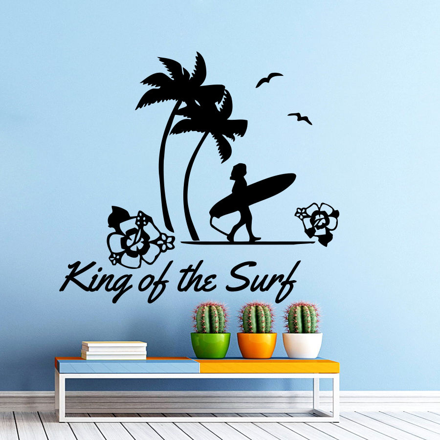 Wall Decal Quote Sport Surfing King Of The Surf Home Decor Bathroom China Mainland