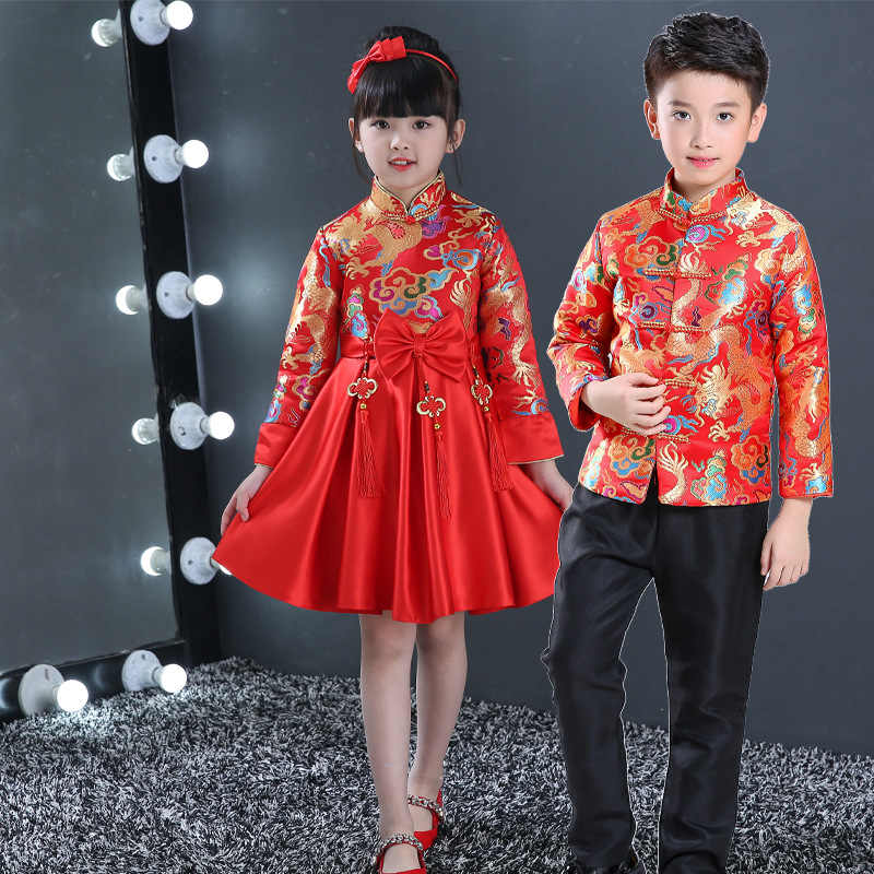 3ab63a2af98 ... Children China Dress Of The Tang Dynasty Chinese Traditional Garments  Jacket Costume Pants For Kid Boy