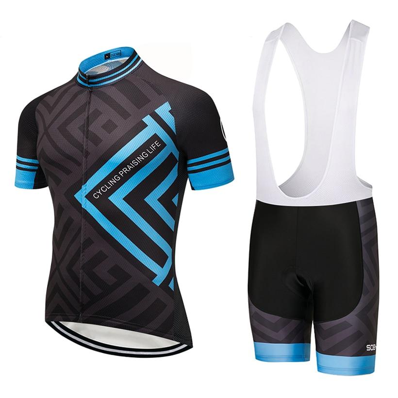 2018 azul marco Ciclismo equipo jersey 9D gel pad bicicleta pantalones cortos conjunto sobycle MTB Ropa Ciclismo hombres secado rápido Ciclismo Maillot desgaste