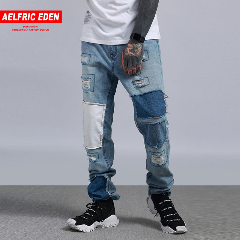 Aelfric Eden Tactical Jeans Denim Casual Pants Ripped Jeans For Men Joggers Winter Jeans Hip Hop Swag Patchwork Streetwear Pa140