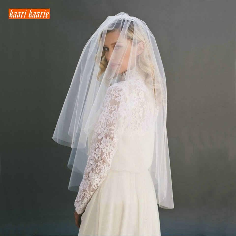אופנה לבן קצר כלה רעלה שתי שכבת 75 cm עם קומב שנהב חתונה מסיבת טול רעלה 2019 חדש הגעה yashmac
