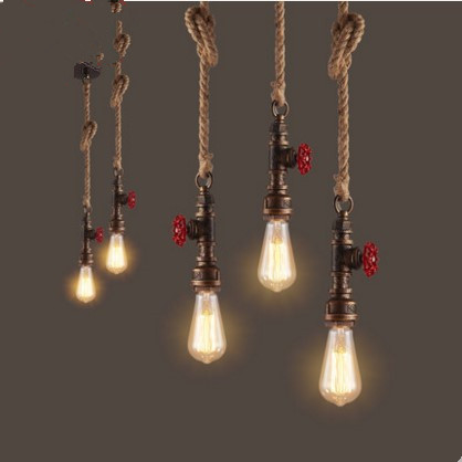 Edison Water Pipe Lamp Vintage Pendant Lights Fixtures For Dinning Room Loft Industrial Lamp Hanging Light Lamparas Colgantes retro loft style industrial vintage pendant lights hanging lamps edison pendant lamp for dinning room bar cafe