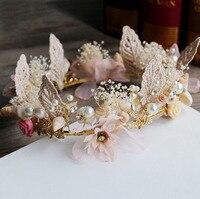 Bridal Wedding Party hoa Lá Ngọc Trai Headbands Flower Đầu Mảnh Cô Dâu dải Tóc Cổ Điển 167tz