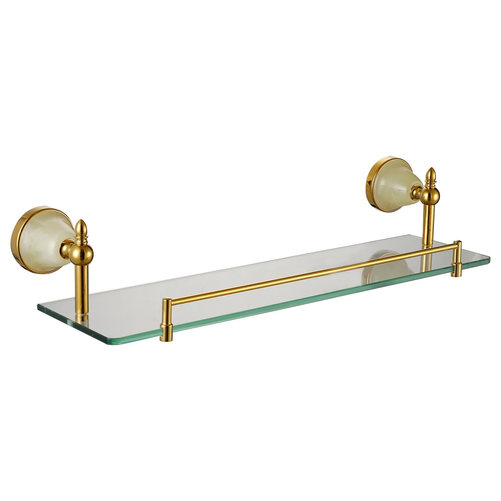 Glass Shelf Rectangle Floating Wall Mounted 304 Stainless Steel And Copper Bathroom  Shelves Kit With Jade