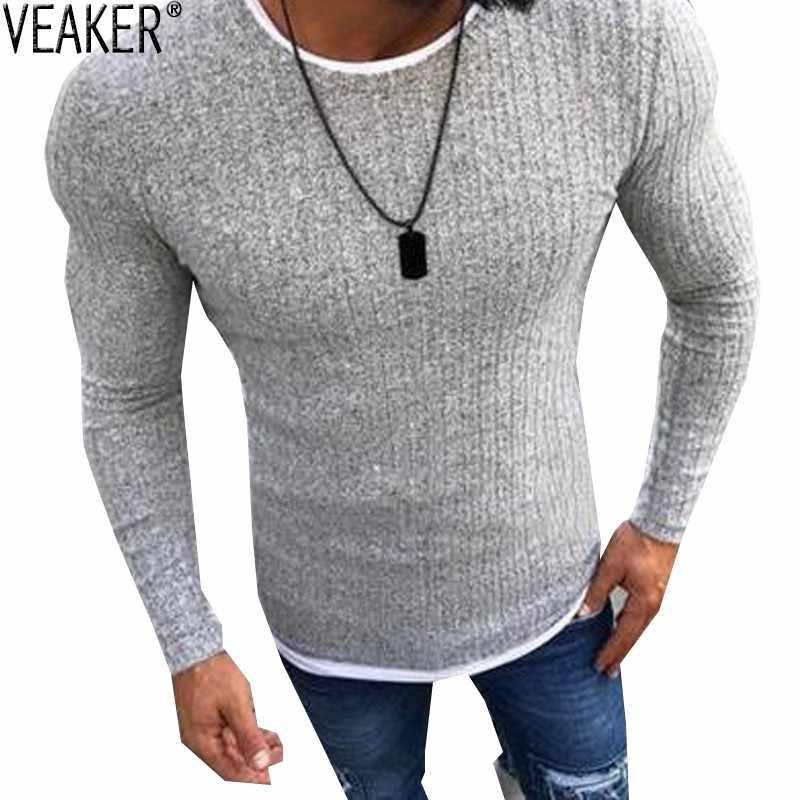 2019 남자 가을 섹시 스키니 스웨터 솔리드 니트 풀오버 얇은 스웨터 o 넥 슬림 피트 스웨터 풀오버 플러스 사이즈 S-5XL