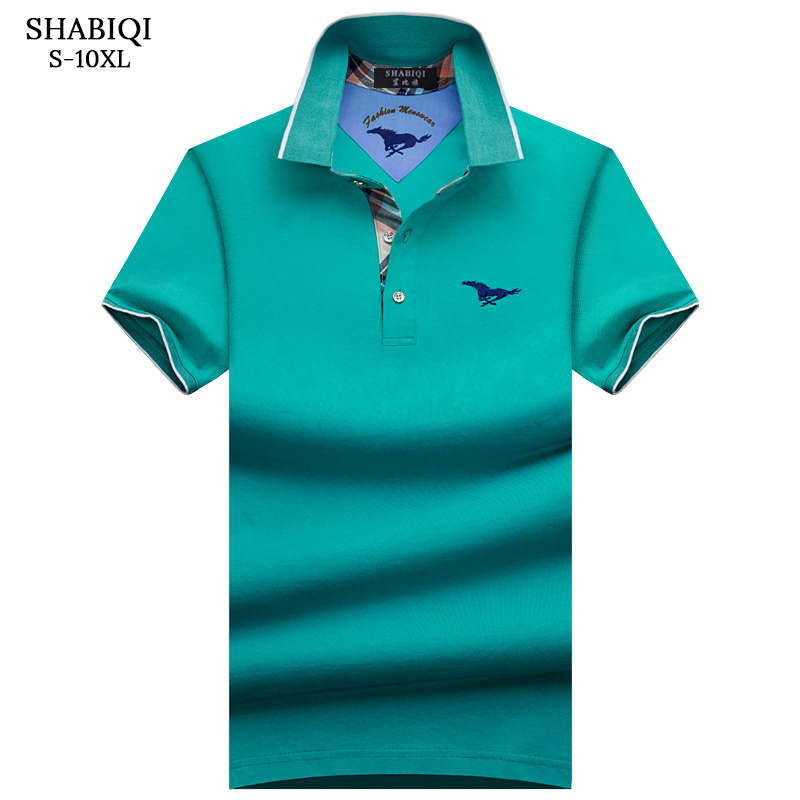 SHABIQI Brand Clothing 2019 New Men Polo Shirt Men Business & Casual Solid Male Polo Shirt Short Sleeve Breathable Shirt S-10XL