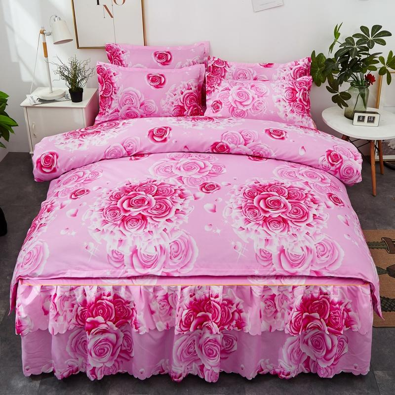 4pcs High Quality Aloe Cotton Bedding Set Rose Flower Patterns Duvets Cover Bed Skirt Pillowcase Soft