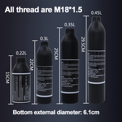 Paintball airsoft PCP tanque de aire montañismo cilindro de buceo 4500psi30MPA 0,2 0,35 0.45L HPA botella de aire alto comprimido M18 * 1,5