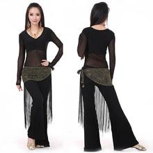 Костюм для танца живота из 3 предметов (топ + полотенце на талии + брюки), одежда для танца живота, танцевальный костюм для индийских танцев, 10 цветов