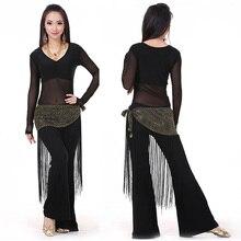 Kostium taneczny brzucha 3 sztuki (Top + talia ręcznik + spodnie) taniec brzucha ubrania Bellydance 10 kolorów odzież do tańca indyjskie sukienki