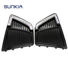 Sunkia стайлинга автомобилей светодиодный drl дневные Бег противотуманная определенным для Hyundai ix25 creta 2015 с желтыми поворотник функция