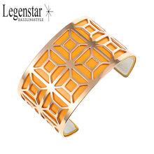 Legenstar Wide Cuff Bangle &Bracelet for Women Grilles Hollow Bangle Reversible Leather Band Stainless Steel Pulseiras Wholesale(China)