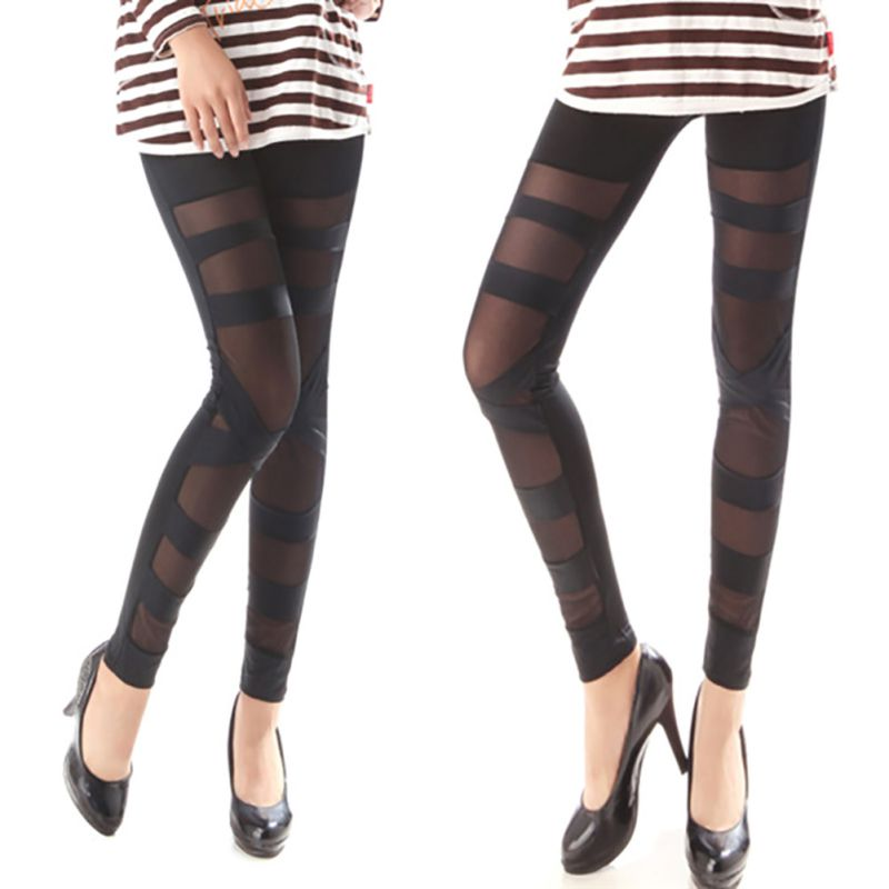 63effad727c514 Women Sexy Punk Black Ripped Cut out Bandage Leggings Woman Skinny Pants  Ladies Trouser-in Leggings from Women's Clothing on Aliexpress.com |  Alibaba Group