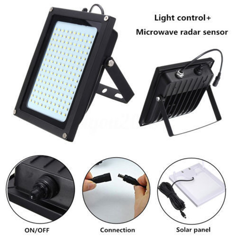 цена IKVVT 150 LED Solar Power Sensor Motion Flood Light Activated Sensor Outdoor Garden Path Lamp 8W