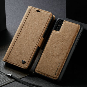Image 2 - WHATIF Kraft Paper Leather Flip Cases for iPhone 6 s 7 8 plus 2 in 1 Detachable Case for iPhone 11 Pro X Xr Xs Max Wallet Case
