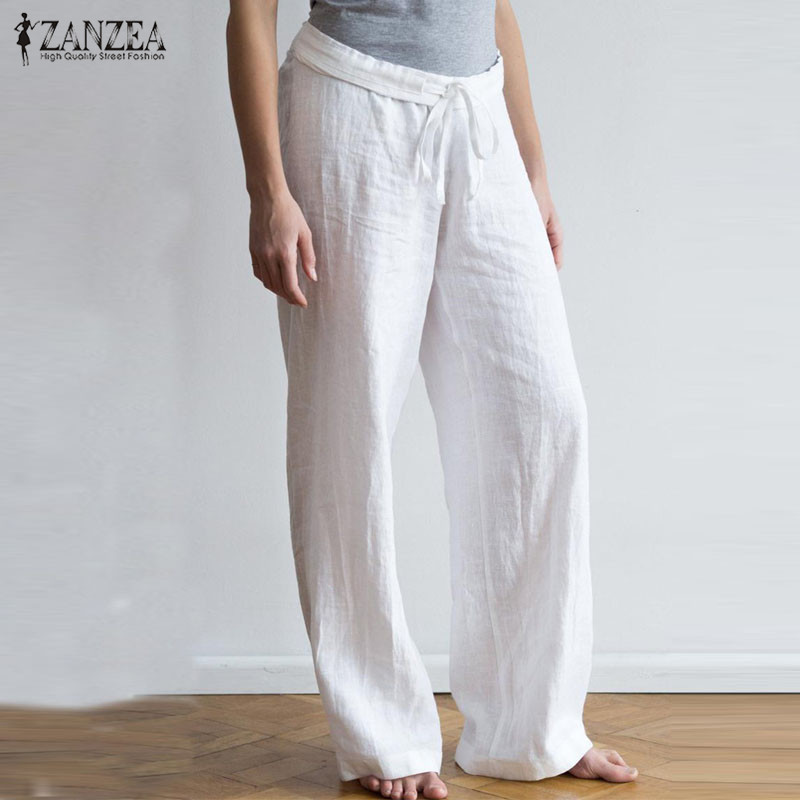 Casual Linen Pants Women's Wide Leg Trousers ZANZEA 2020 Vintage Drawstring Solid Long Pantalon Woman Palazzo Plus Size Pant 5XL