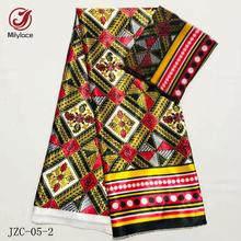 2019 New African Printing Satin Silk Fabric 4 yards+breathable chiffon fabric 2 yards digital printing for clothes JZC-5