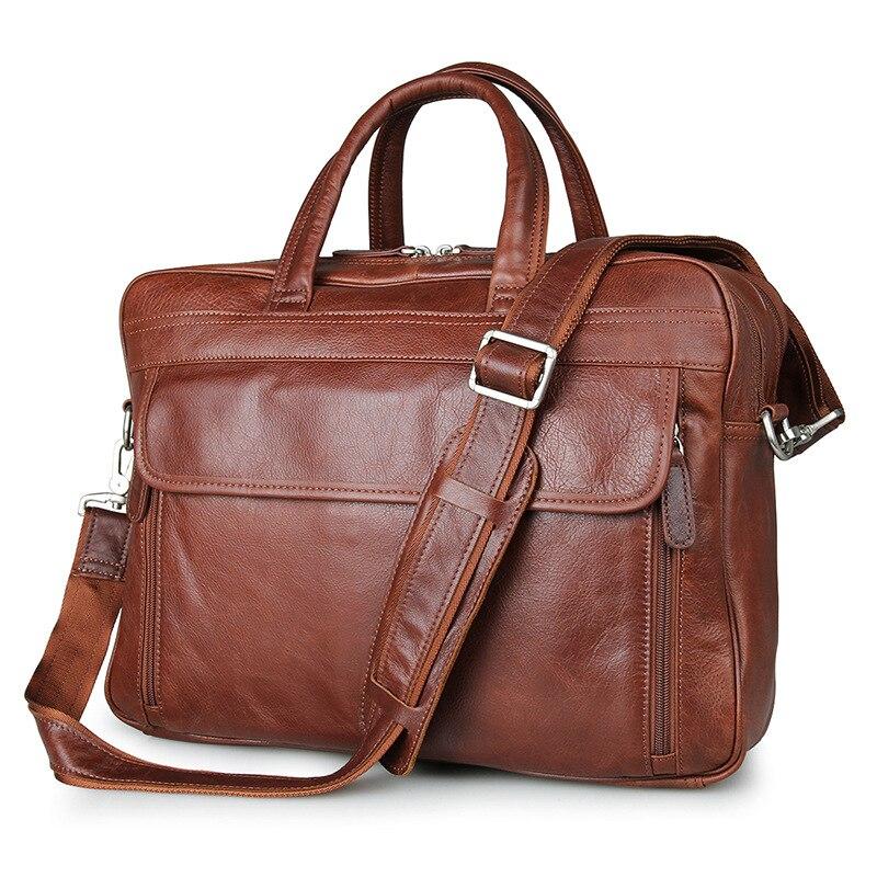 Nesitu Large Capacity Genuine Leather Men Messenger Bags Real Skin Briefcase Portfolio 14'' Laptop Business Travel Bag #M7333 стоимость