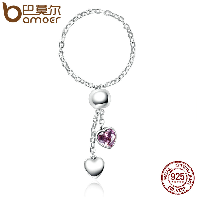 BAMOER Authentic 925 Silver Pink Hearts Clear CZ Finger