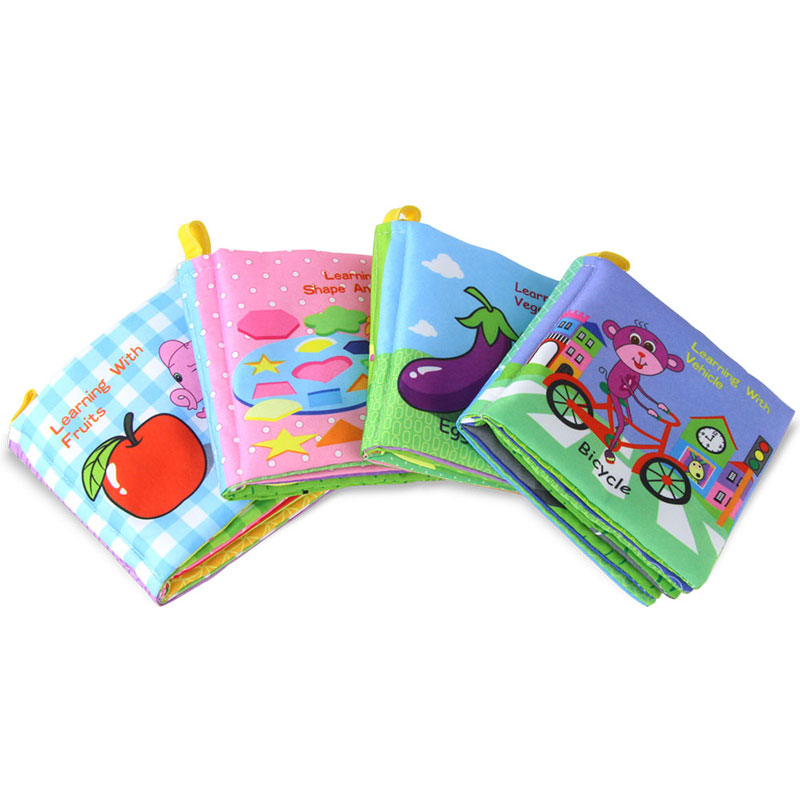 4 Styles Baby Education Traffic Fruit Soft Cloth Book Fabrics Quiet Book Early Learning Cloth Books Rustle Sound Toys For Kids