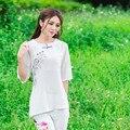 Elegante Blusa Longa Para As Mulheres 2016 Branco Impressão Meia Manga Solta Tops Moda Verão E na Primavera New Roupas Casuais
