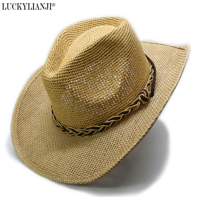 Luckylianji Women S Men Uni Hard Raffia Hollow Wide Brim Sun Beach Cowboy Hat Braided Leather Band