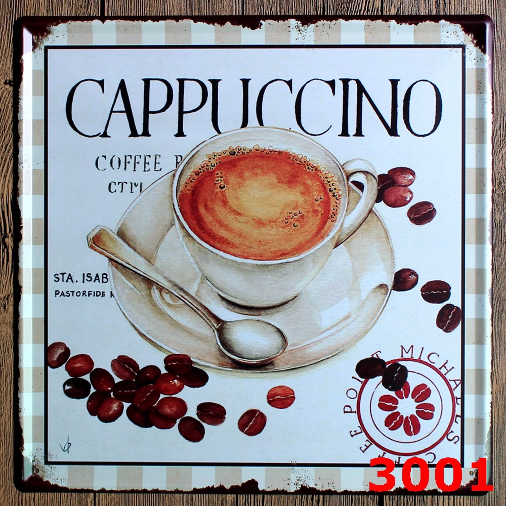 Large Vintage license plate CAPPUCCINO Metal signs home decor Office Restaurant Bar Metal Painting art 30x30 CM
