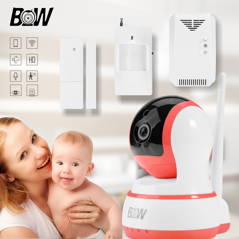 Wifi IP Camera + Door Sensor/Infrared Motion Sensor/Gas Detector Wireless Security Camera Alarm System Surveillance IR Cut BW13P wireless security camera wifi motion sensor ip baby monitor door sensor gas detector video surveillance alarm system bw12y