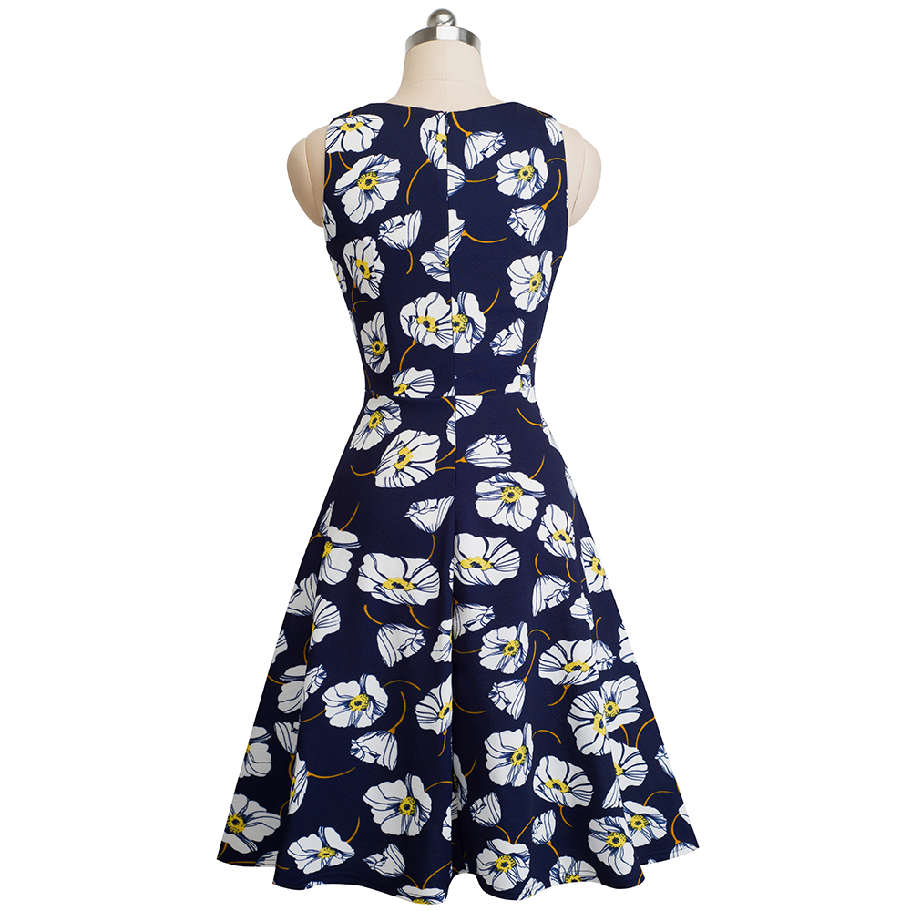 Nice-forever Vintage Elegant Embroidery Floral Lace Patchwork vestidos A-Line Pinup Business Women Party Flare Swing Dress A079 75