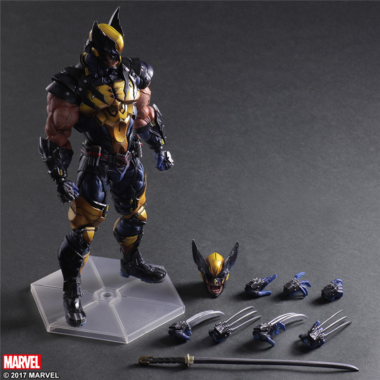 Play Arts Kai X men Logan Wolverine PVC Action Figure Collectible Model Toy 26cm play arts kai street fighter iv 4 gouki akuma pvc action figure collectible model toy 24 cm kt3503