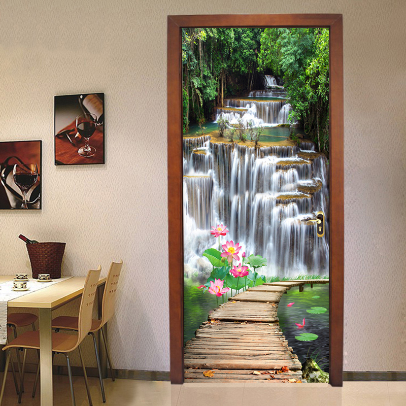Chinese Style Waterfall Louts Wooden Bridge Mural Wallpaper 3D Living Room Study Photo Wall Door Sticker Creative DIY Home Decor creative mural chinese horse to success