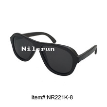 fashionable dark black wood sunglasses