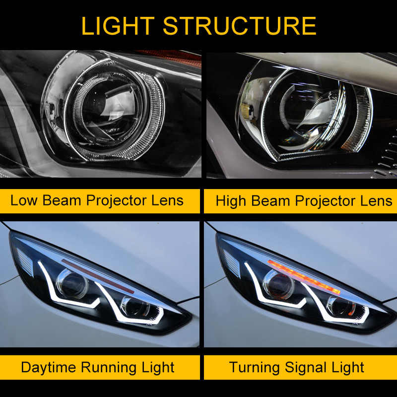 Headlight Assembly for Ford Focus 2015 2016 2017 2018 Left Right with LED  DRL Running Light and Yellow Flowing Turning Signal