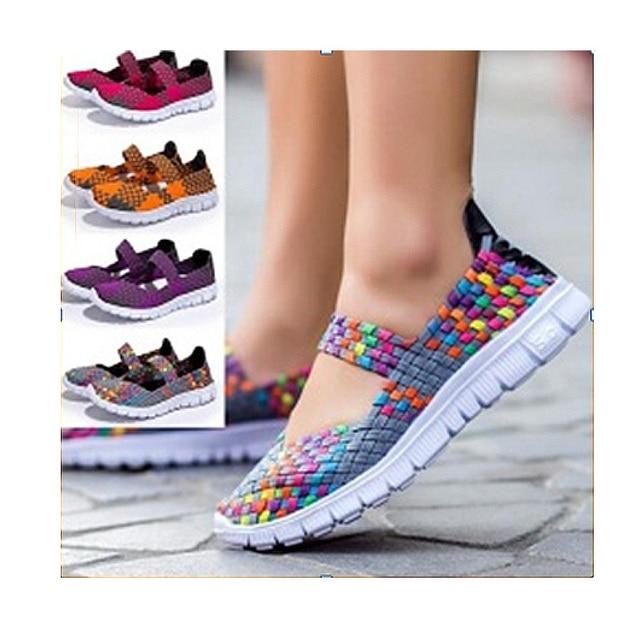 Женщина повседневная обувь 2016 мода Новые Поступления Дышащий Ткачество женская обувь