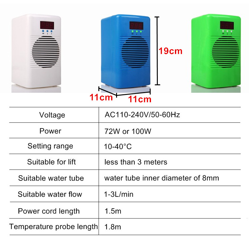 Refroidisseur d'eau d'aquarium de 72 w/100 w 110 240 v ou double régulateur de température plus chaud de refroidisseur pour le récif marin de corail de réservoir de crevette de poissons - 2