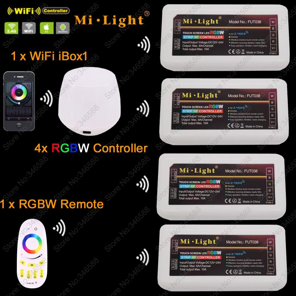 4x MiLight RGBW HA CONDOTTO il Regolatore Dimmer DC12-24A + 2.4G Zone RF Wireless Remote Touch + WiFi iBox1 per RGBW HA CONDOTTO la Luce di Striscia