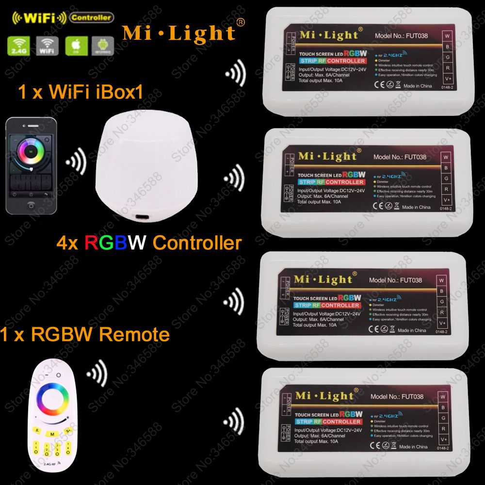 4x MiLight RGBW LED Dimmer Controller DC12-24V 24A+ 2.4G 4-Zone RF Wireless Touch Remote + WiFi iBox1 for RGBW LED Strip Light 2 4g milight ibox1 hub rf remote wifi ler with rgb light wireless control for milight led bulbs support ios android app dc5v