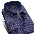 2016 Men's Argyle Plaid Print Shirts Slim Fit Square Collar Long Sleeve Brushed 100% Cotton Comfort Soft Mens Casual Dress Shirt