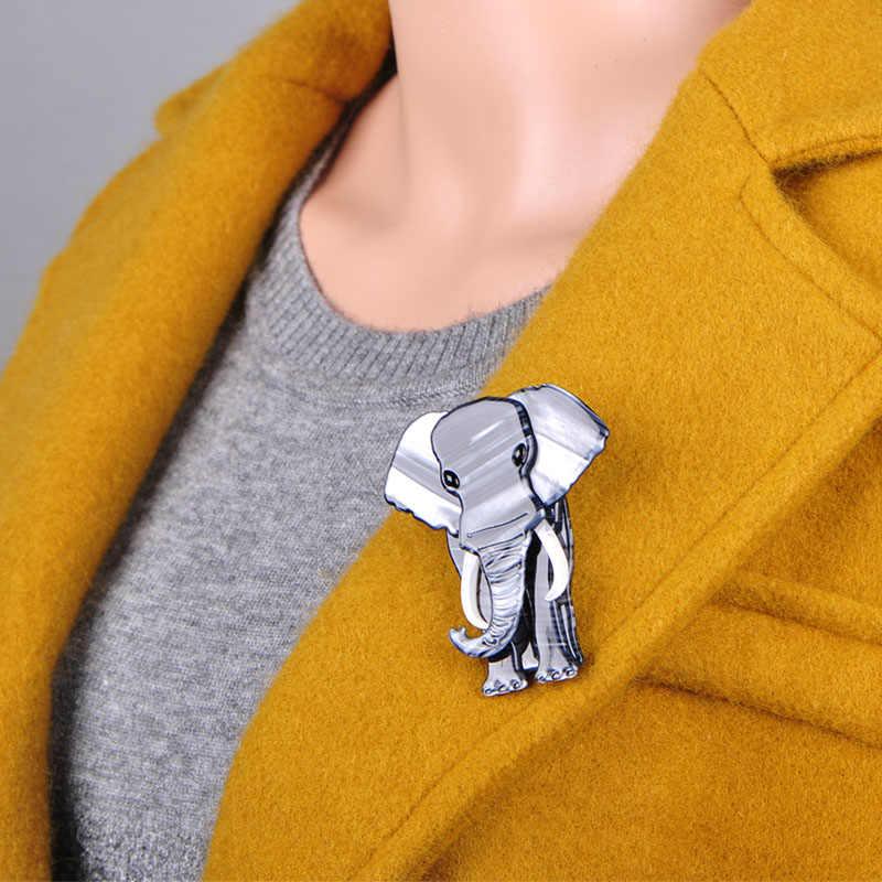 Blucome Besar Gajah Bentuk Bros Tekstur Khusus Akrilik Perhiasan untuk Wanita Anak Syal Tas Korsase Pin Hewan Aksesoris