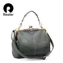 REALER women bag retro messenger bags small shoulder crossbody bag high quality PU leather totes female clutch handbags ladies(China)