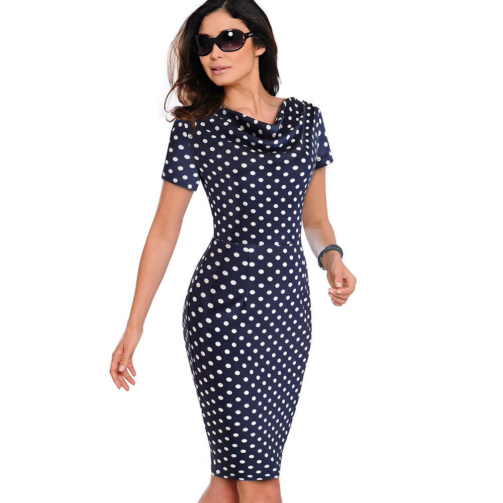 Nice-forever Women Vintage Wear to Work Elegant vestidos Business Party Bodycon Sheath Office Ruffle Female Dress B452 45