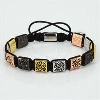 Vintage Men Bracelet Charm Briading Bracelet Pave Special Pattern Square Beads Macrame Bracelet Male ZSB 200