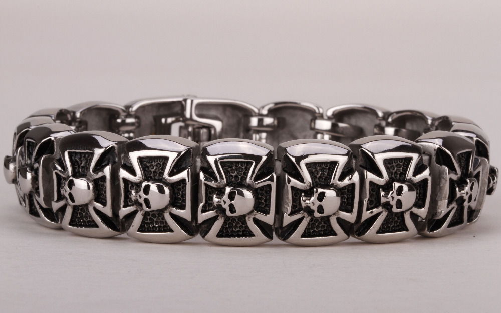 Men stainless steel bracelet 316L skull cross chain link biker heavy punk rock jewelry silver tone 8.5
