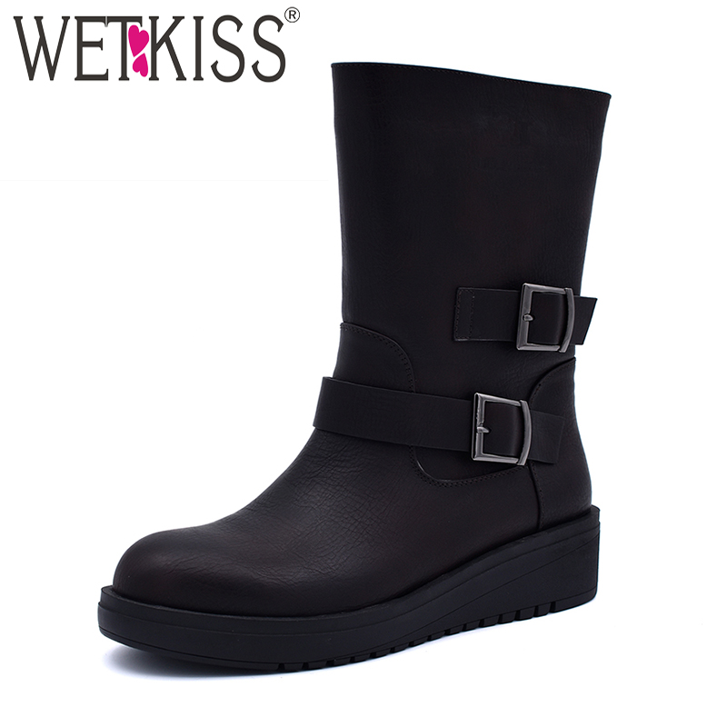 WETKISS Mid Calf Winter Platform Boots Women Round Toe Plush Wedges Buckle Boots Fashion Ladies Shoes Pu Footwear Big Size 41 big size 34 43 advanced nubuck leather mid calf fashion round toe wedges boots for women 5 color new women boots