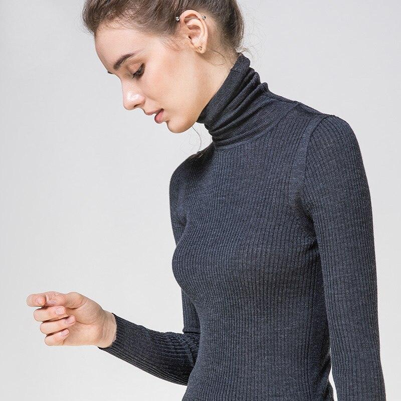 Image 2 - Women Wool Pullover 100%Merino Wool Sweater For Women Turtleneck  Rib Knits 2019 Fall Winter Sweaters Bottoming KnitwearPullovers   -
