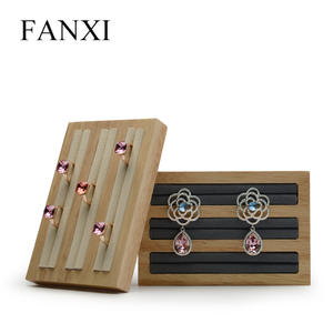 FANXI Delicate Cream-white&Dark gray Soild Wood Jewelry Display Rack For Rings Earrings Bangle Holder Jewellery Display Stand