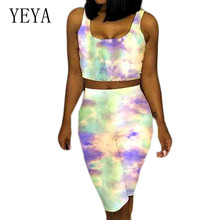 YEYA Plus Size XXL Tie-dye Contrast Casual 2 Pieces Sets Jumpsuits Summer Sexy Sleeveless Vintage Hollow Out Bodycon Playsuits